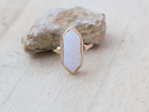 Long Hexagon Ring - Cottontail
