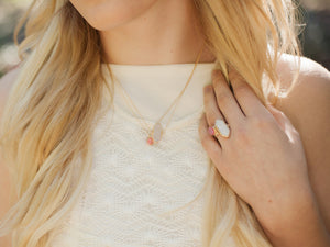 Long Hexagon Ring - Clementine