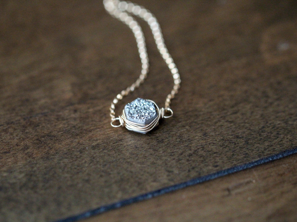Hexagon Druzy Necklace - Platinum   ( As Seen On Arrow )