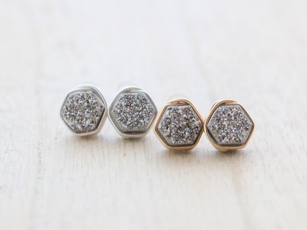 Hexagon Druzy Studs - Platinum