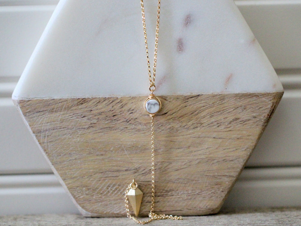 Marble Lariat Layering Necklace
