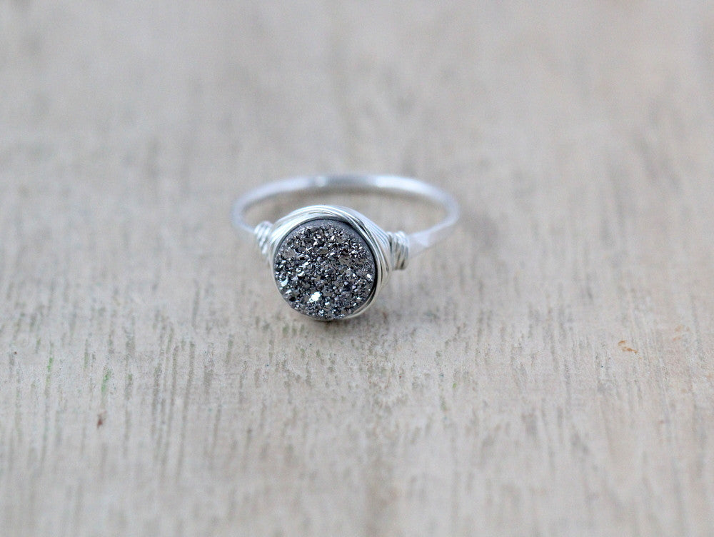 Platinum Round Druzy Ring - 8mm