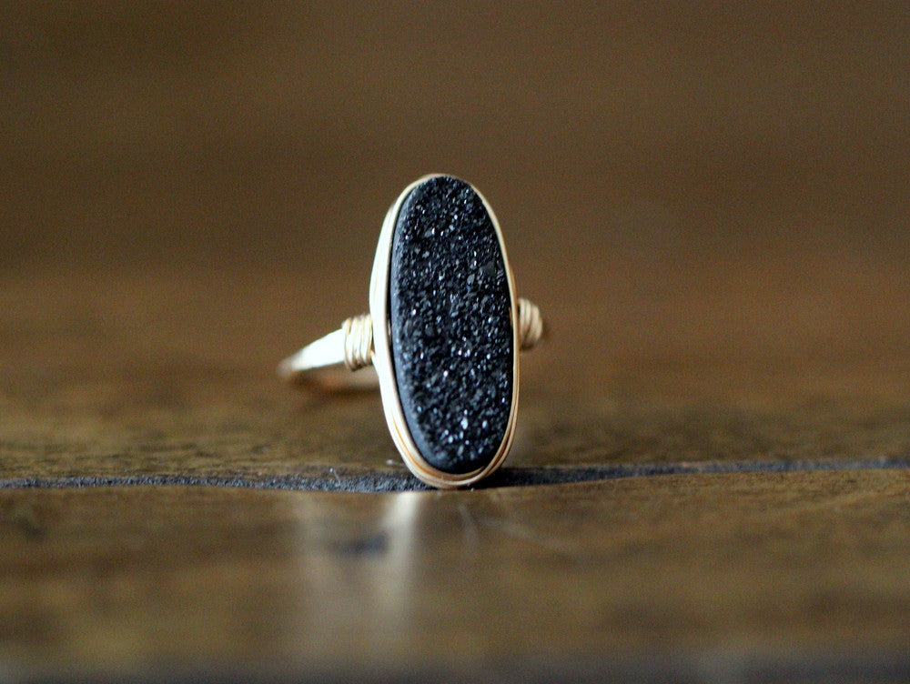 Long Oval Druzy Ring - Eclipse