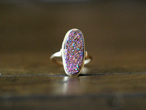 Long Oval Druzy Ring - Unicorn