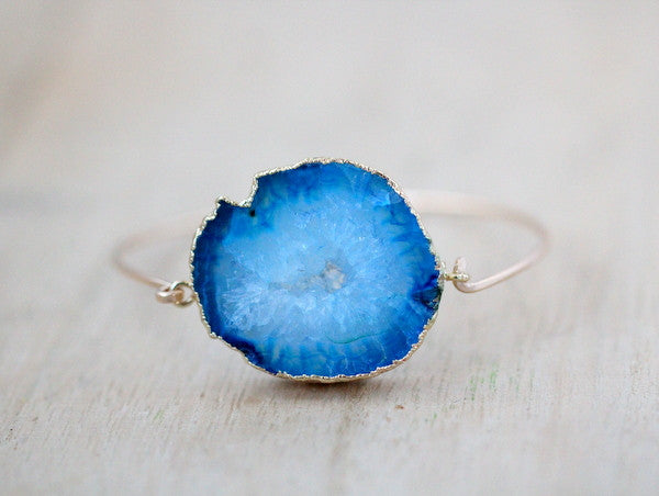 Agate Slice Bracelet - Peacock  ( As Seen On Jane The Virgin )