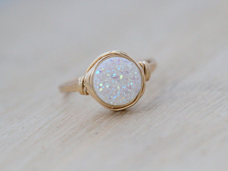 Confetti Cream Round Druzy Ring - 8mm