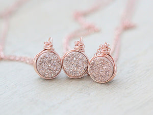 Petite Druzy Bezel Pendant Necklace - Gilded Rose Gold
