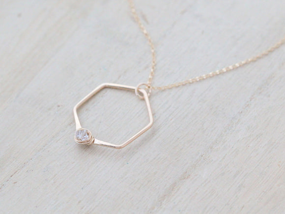 Refraction Hexagon Necklace - Herkimer Diamond