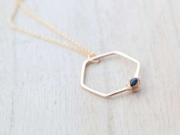 Refraction Hexagon Necklace - Black Diamond