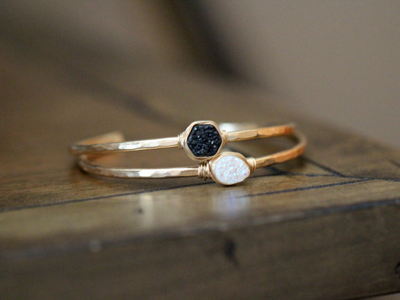 Druzy Hexagon Cuff - Eclipse
