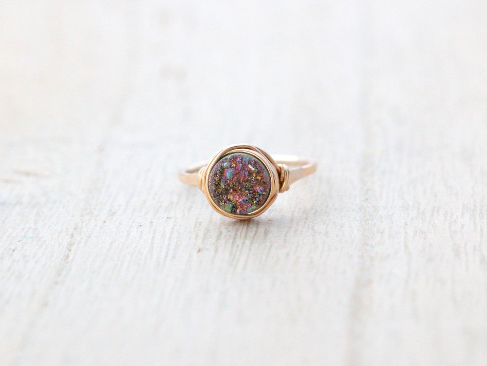 Unicorn Round Druzy Ring - 8mm