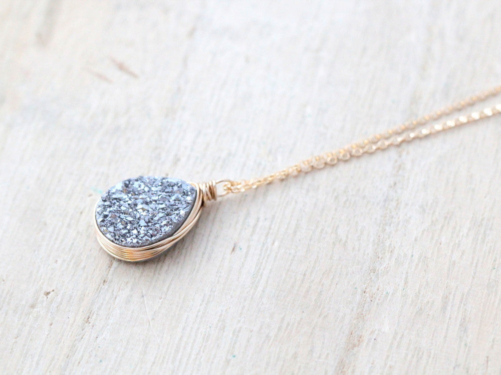 Gray Druzy Teardrop Necklace