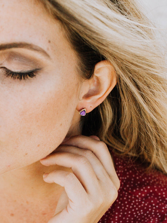 Micro Triangle Studs - Mulberry