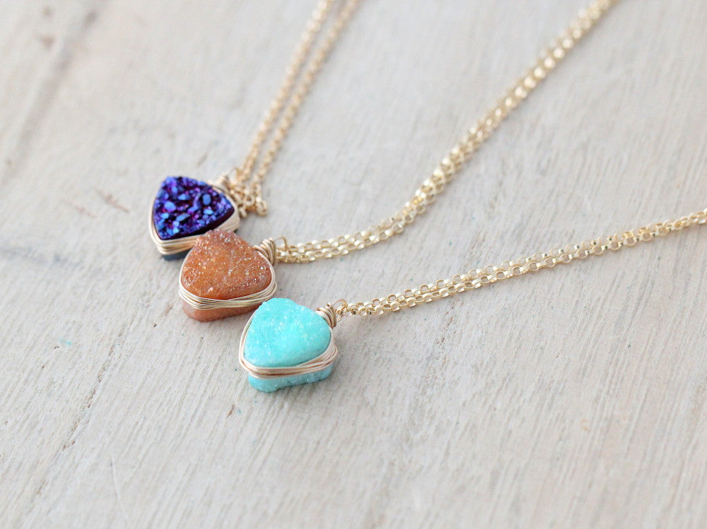 Druzy Triangle Pendant Necklaces