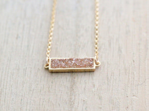 Druzy Baby Bar Necklace - Clementine