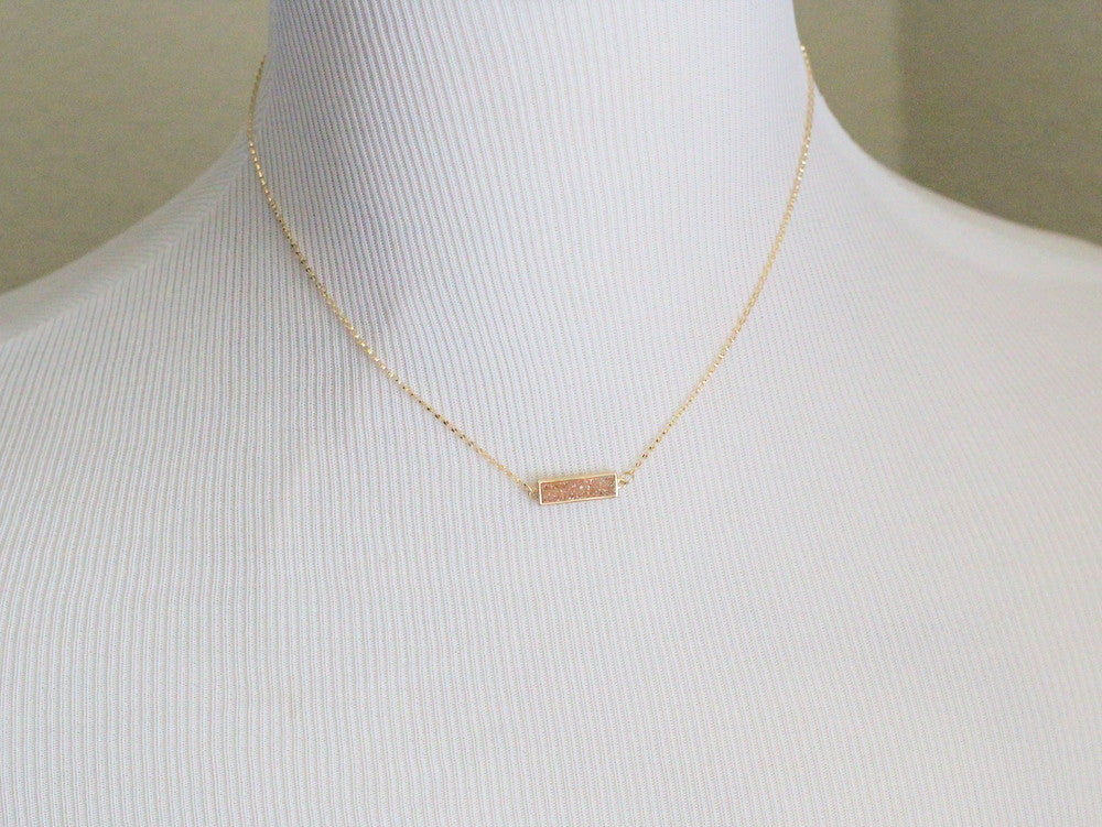 Druzy Baby Bar Necklace - Platinum