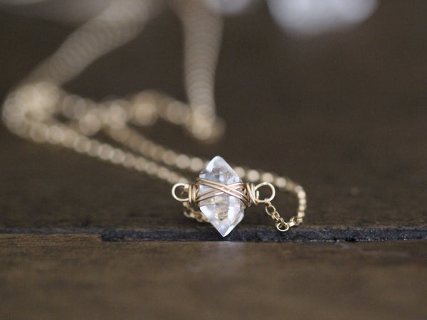 Herkimer Diamond Caged Necklace