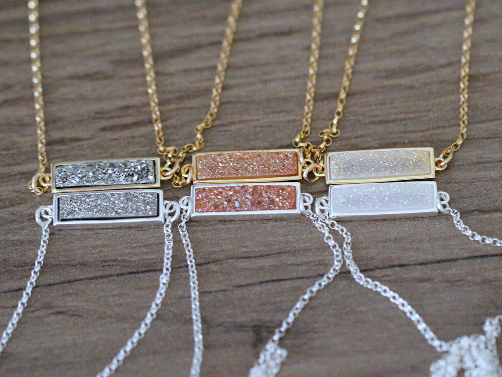Druzy Baby Bar Necklace - Cottontail