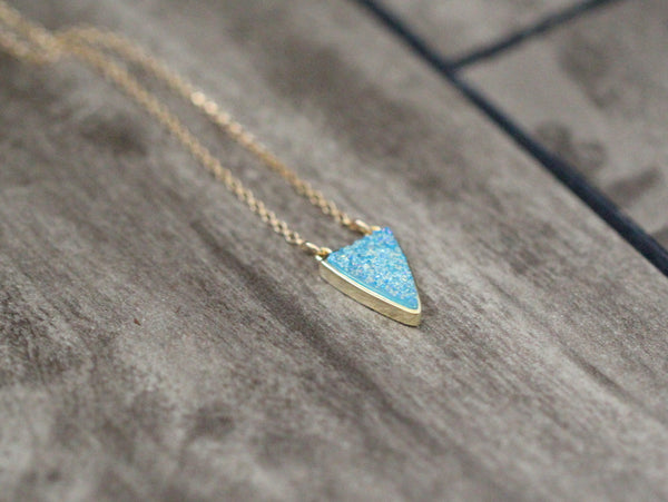 Druzy Finn Necklace - Aqua