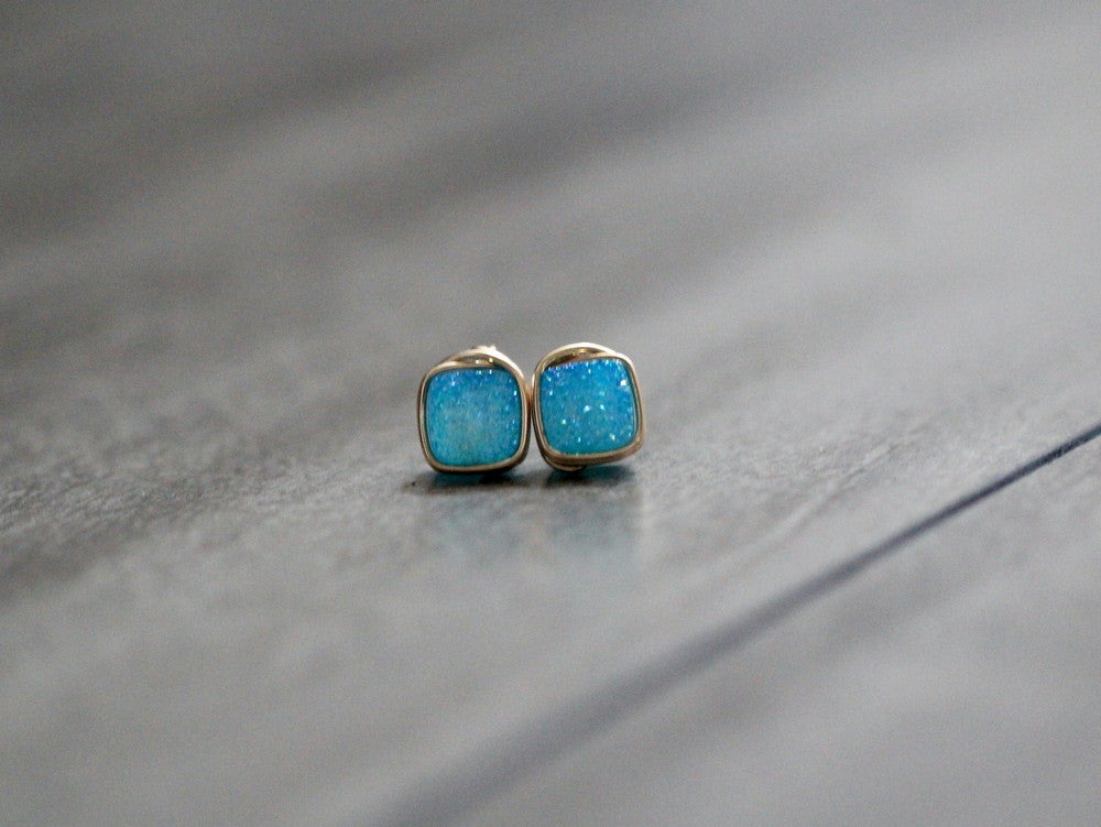 Aqua Cushion Cut Druzy Studs