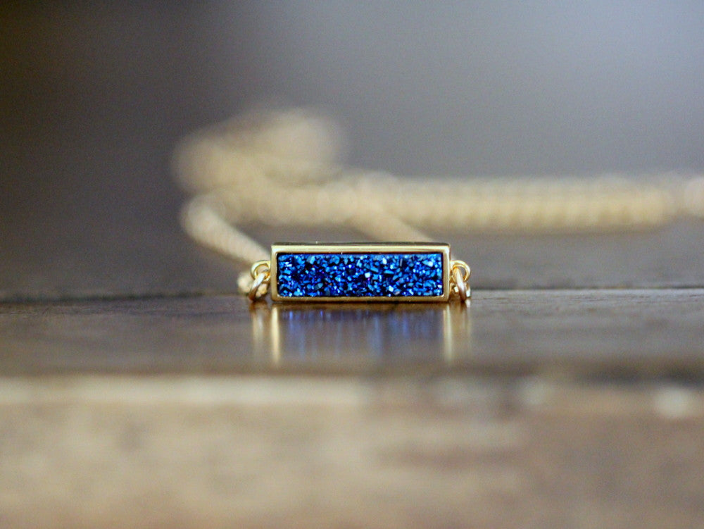 Druzy Baby Bar Necklace - Cobalt
