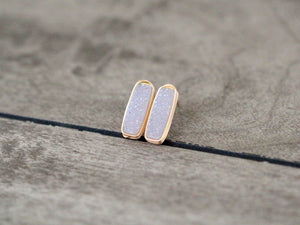 Druzy Bar Studs - Cottontail