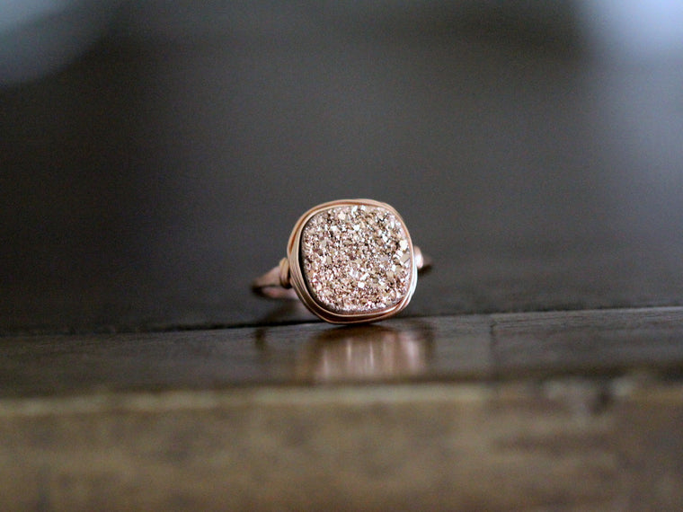 Druzy Cushion Cut Cocktail Ring - Rose Gold