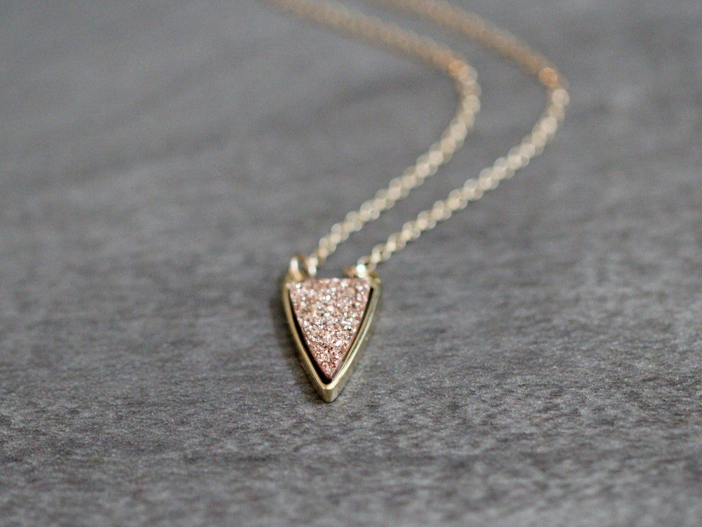 Druzy Finn Necklace - Gilded Rose Gold   ( As Seen On Quantico )