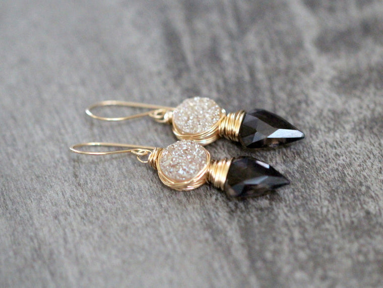 Compass Earrings - Smoky