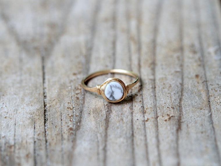 Marble Howlite Ring