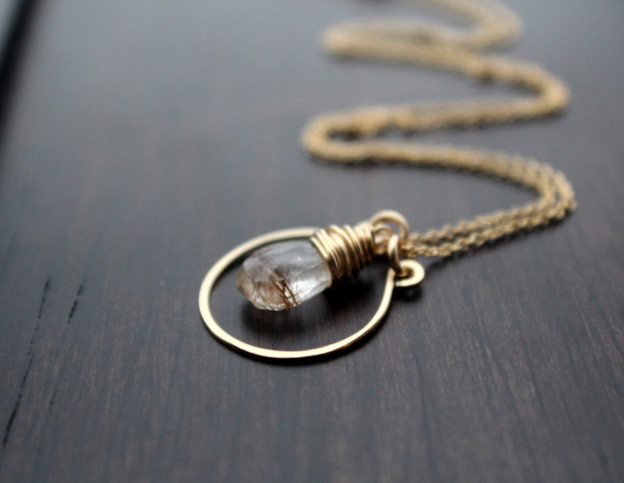 Angel Face Necklace - Angel Hair Rutilated Quartz