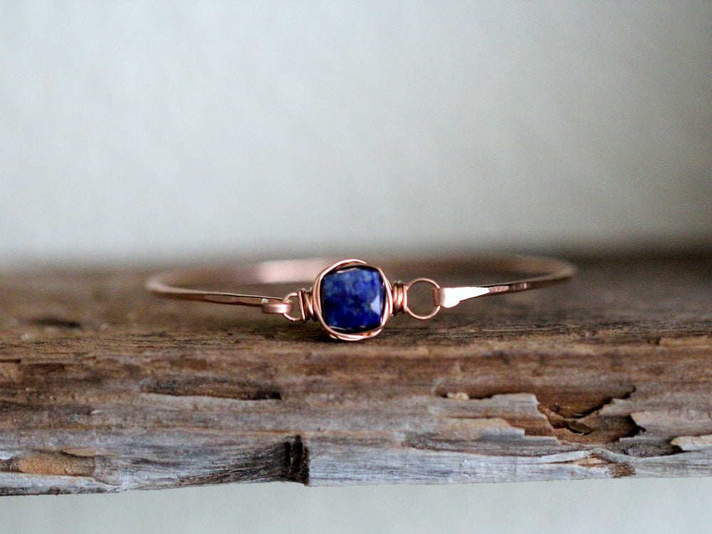 Lapis Lazuli Bezel Wrapped Bangle
