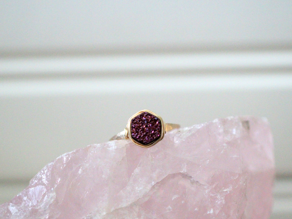Hexagon Druzy Ring - Aubergine