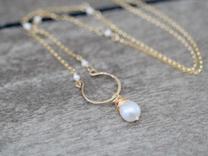 Pearl Hoop Necklace - As Seen On Riverdale