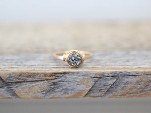 Micro Druzy Ring - Platinum
