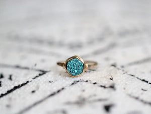 Hexagon Druzy Ring - Teal