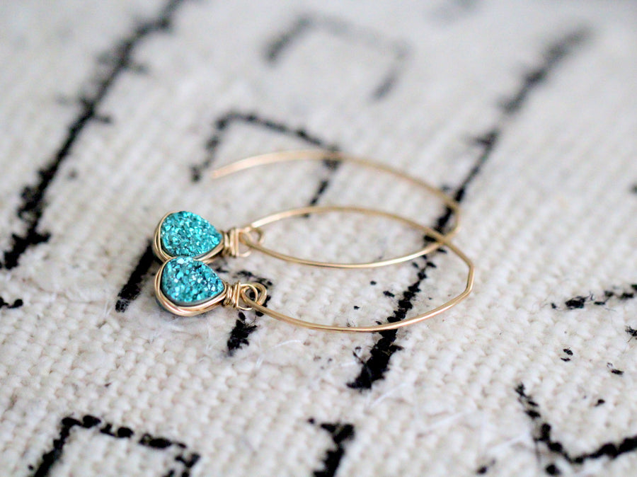 Linear Druzy Drops - Teal