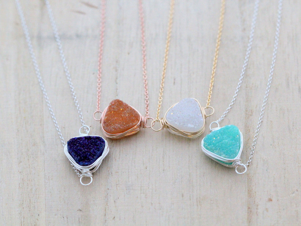 Druzy Triangle Bezel Necklace (Multiple Colors)