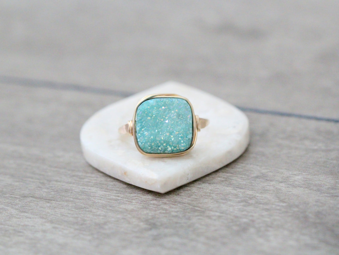 Druzy Cushion Cut Cocktail Ring - Buttermint