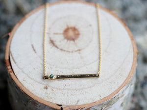 Refraction Bar Necklace - Teal Diamond