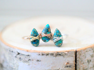 Copper Turquoise Teardrop Ring - Classic Blue