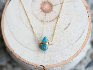 Copper Turquoise Necklace - Classic Blue