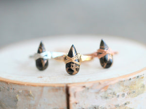 Copper Turquoise Teardrop Ring - Black