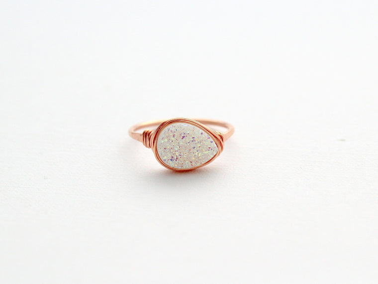 Druzy Teardrop Ring - Confetti Cream