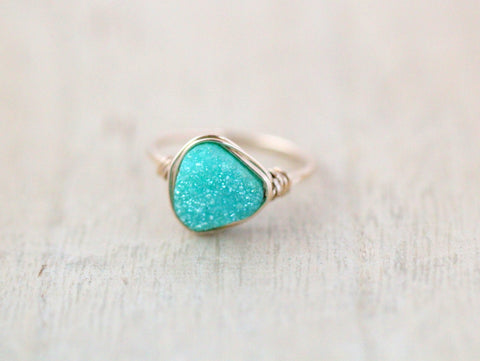 Druzy Triangle Ring - Buttermint