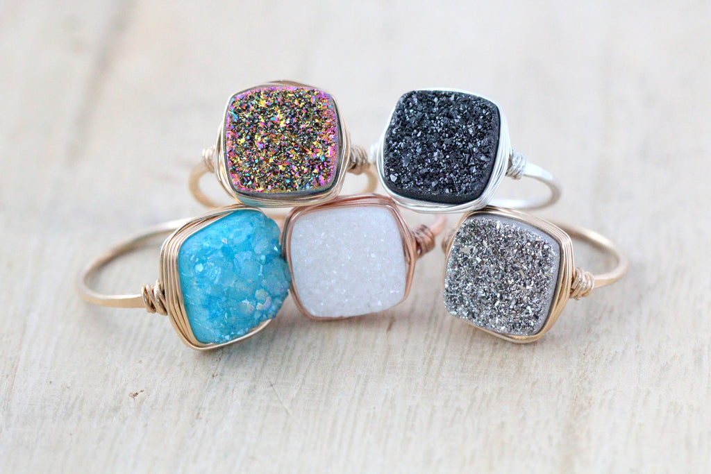 Druzy Cushion Cut Cocktail Rings (12mm) - 7 Color Choices