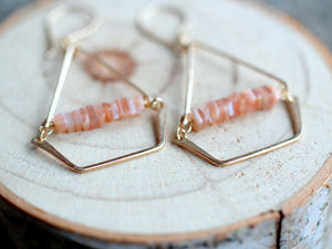 Swing Earrings - Peach Moonstone