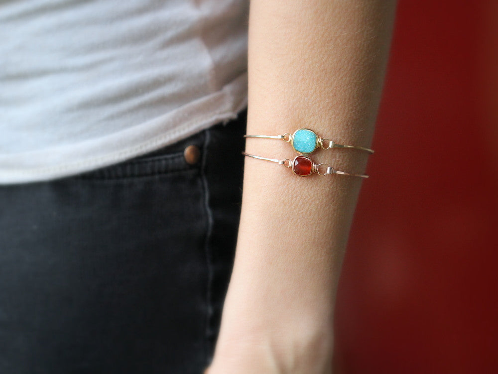 Carnelian Bezel Style Bangle