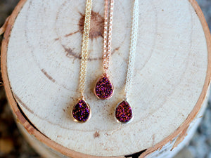 Druzy Teardrop Necklace - Aubergine