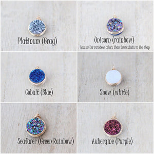 Druzy Bezel Pendant Necklaces ( NEW COLORS )